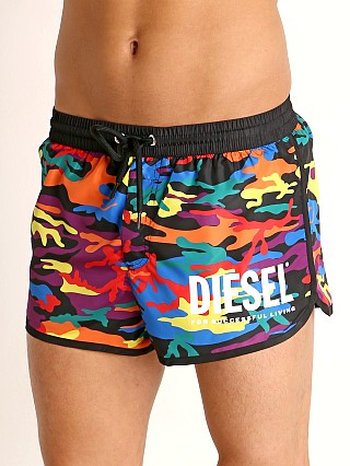 Model in pride camo Diesel Reef Swim Shorts