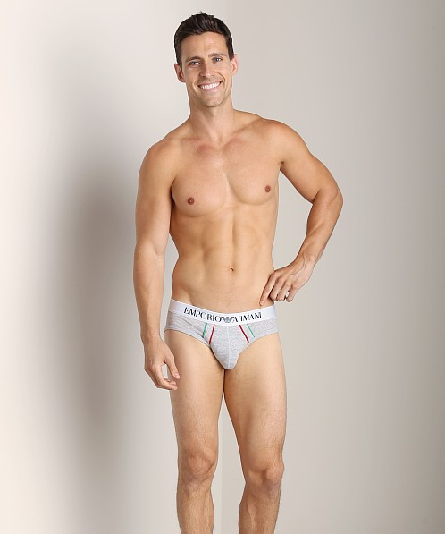 Emporio Armani Italian Flag Stretch Cotton Brief Melange Grey
