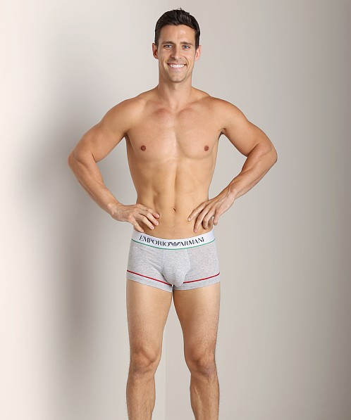 Emporio Armani Italian Flag Stretch Cotton Trunk Melange Grey