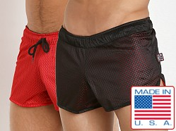 Cell Block 13 Reversible Mesh Beer Bust Shorts Black/Red