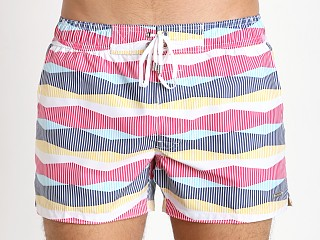2xist Retro Stripe Ibiza Swim Shorts Raspberry Sorbet