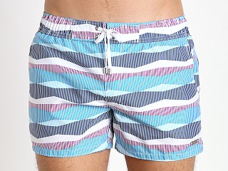 2xist Retro Stripe Ibiza Swim Shorts Methyl Blue