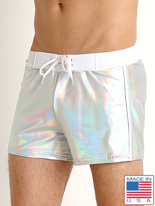 Model in shiny silver Sauvage Silver Shine Nylon Lycra Swim Trunk