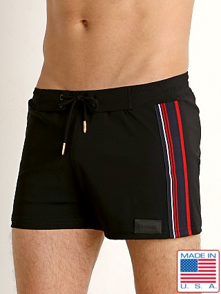 Sauvage Retro Lycra Twill Tape Swim Trunk Black/Red/Navy