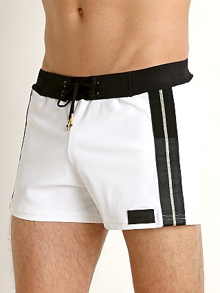 You may also like: Sauvage Retro Lycra Metallic Stripe Swim Trunk White/Black/Gold