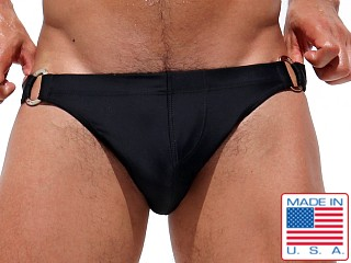 Model in black Rufskin Dick Double D-Ring Euro-Cut Swim Briefs
