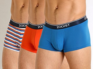 Model in imperial blue/manderain red/imperial blue 2xist Stretch No Show Trunks 3-Pack Imperial/Manderain/Imperial