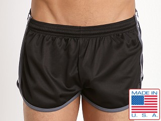 Pistol Pete Wrestler Poly Pique Dry Fit Short Black/White