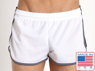 Pistol Pete Wrestler Poly Pique Dry Fit Short White/Black