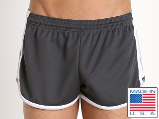 Pistol Pete Wrestler Poly Pique Dry Fit Short Gray/White