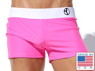 Rufskin Walker Contrast Swim Trunk Bubble Gum/White