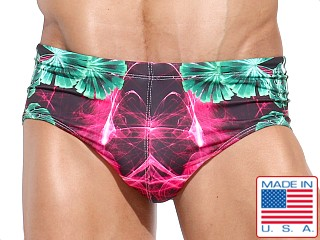 Model in chewa print Rufskin  Swim Brief