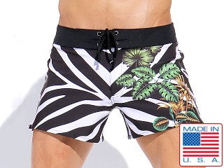 Rufskin Cardiff Print Front Lace Swim Trunk