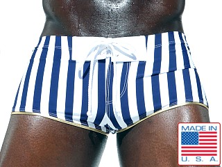 Rufskin Maltese Square Cut Swim Trunk Navy White Stripes