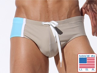 Rufskin Ezio Paneled Swim Brief Chino/Aqua