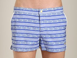 Parke and Ronen Angeleno Print Swim Short Pandora Blue