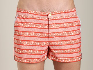 Parke and Ronen Angeleno Print Swim Short Pandora Coral