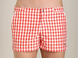 Parke and Ronen Angeleno Check Swim Short Cherry Gingham