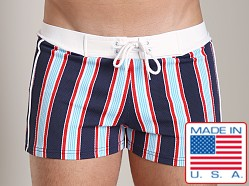 Sauvage Italian Lycra Designer Stripe Swim Shorts Red White Blue