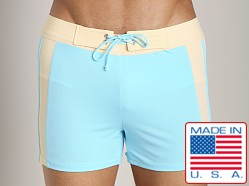 Sauvage SoBe Side Stripe Swim Trunk Aqua