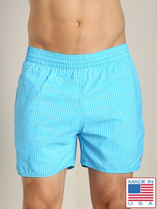 Sauvage Seersucker Nylon Euro Beach Short Aqua