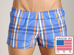 Sauvage Como Italia Plaid Swim Trunks Azure