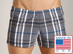 Sauvage Como Italia Plaid Swim Trunks Charcoal