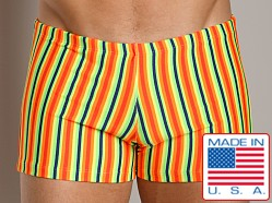 LASC Square Cut Swim Trunk Orange Stripe