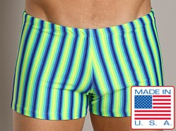 LASC Square Cut Swim Trunk Green Stripe