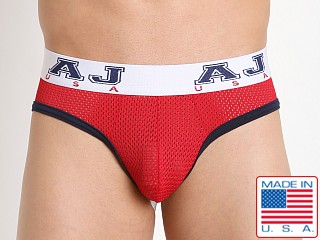 American Jock Compete Mesh Backless Briefs Red/Navy