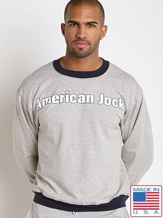 Model in heather/navy American Jock Warm-Up Sweatshirt