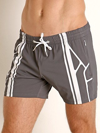 Model in grey Nasty Pig Takeoff Rugby Short