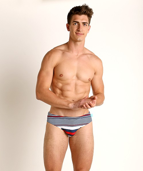 Timoteo Lakeshore Low Rise Swim Brief Navy Stripe
