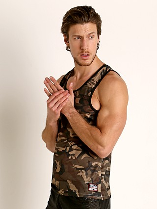 Model in army green Cell Block 13 Foxhole Camo Mesh Tank Top