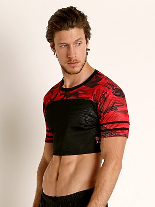 Model in red Cell Block 13 Foxhole Camo Mesh Crop Top