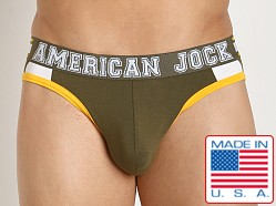 American Jock Aktivo Hi-Cut Brief Olive/Yellow