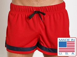 American Jock Aktivo Ringed Soccer Short Red/Navy