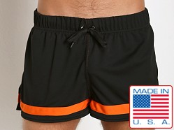 American Jock Aktivo Ringed Soccer Short Black/Orange