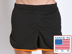 American Jock Aktivo Gym Short w/Built in Jock Black/Orange