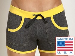 American Jock Fitness Training Short Charcoal/Lemon