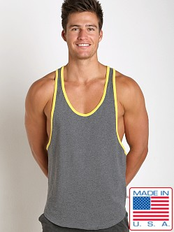 American Jock Fitness Muscle Tank Charcoal/Lemon