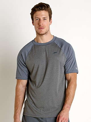 Model in heather/blue Speedo Heather Sun Block Swim Tee