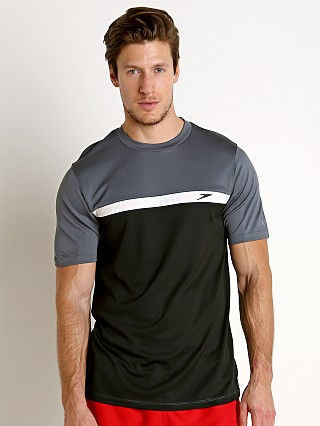 Model in speedo black Speedo Colorblock Sun Block Swim Tee
