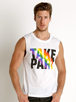 Model in rainbow brights Speedo Rainbow Pride Muscle Shirt