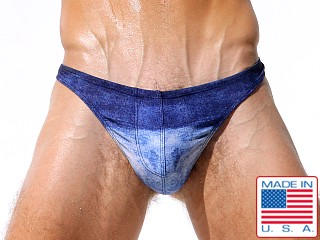 "Model in denim Rufskin Larry Printed """" Thong"