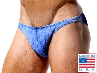 "Model in denim Rufskin Fox Printed """" Super Low Rise Briefs"
