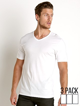 Model in white Hugo Boss 100% Cotton V-Neck Shirt 3-Pack