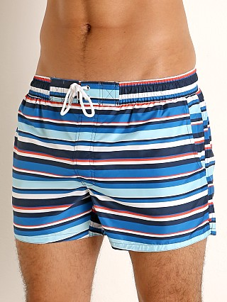 Model in multi stripe varsity navy 2xist Ibiza Swim Shorts
