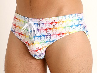 2xist Pride Rio Sliq Swim Brief Flamingo Rainbow