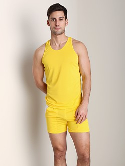 Tulio Color Block Dry Fit Tank Top Yellow